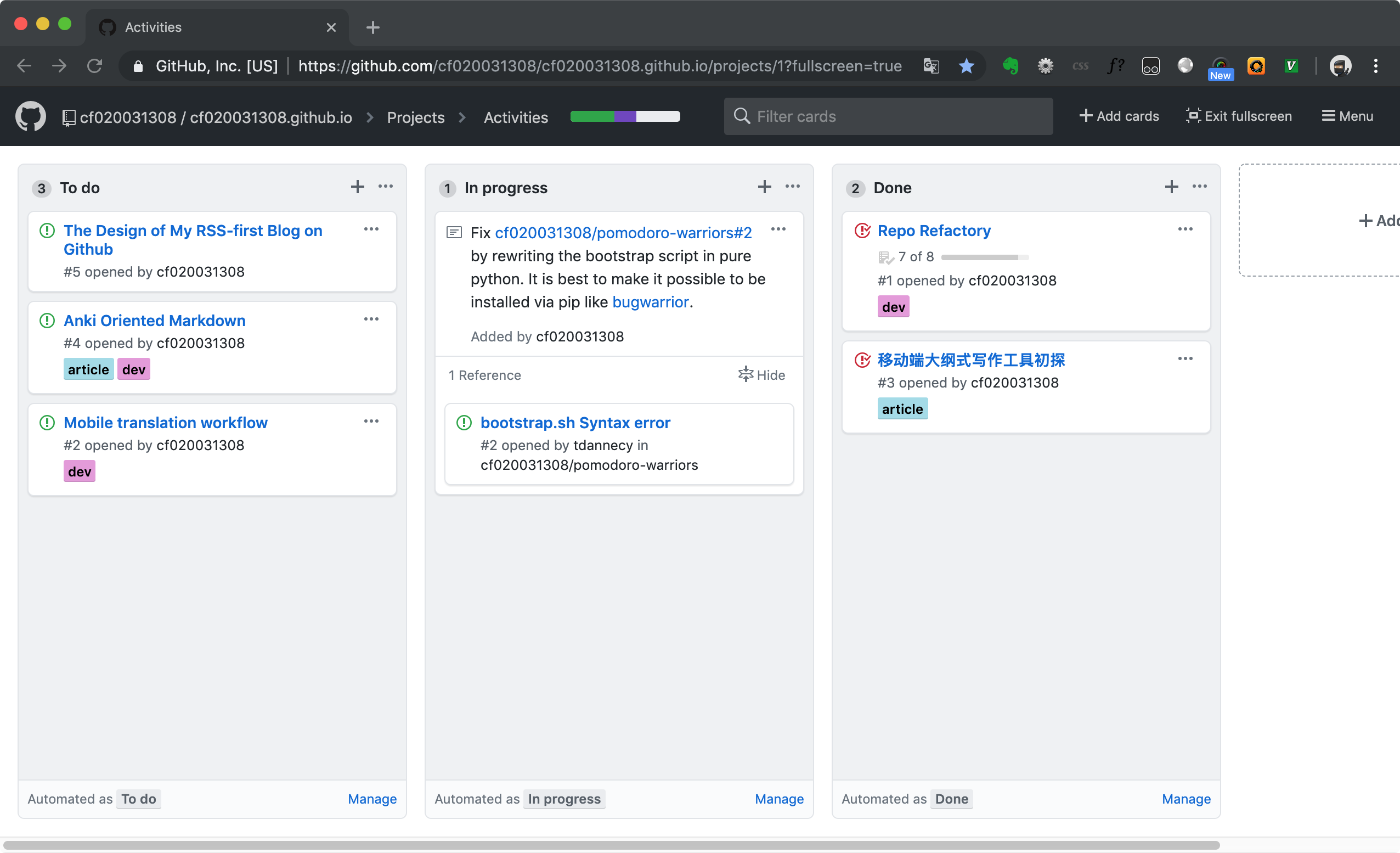 Github Projects as a Kanban